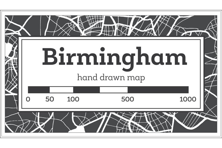 Birmingham Great Britain City Map in Black and White example image 1