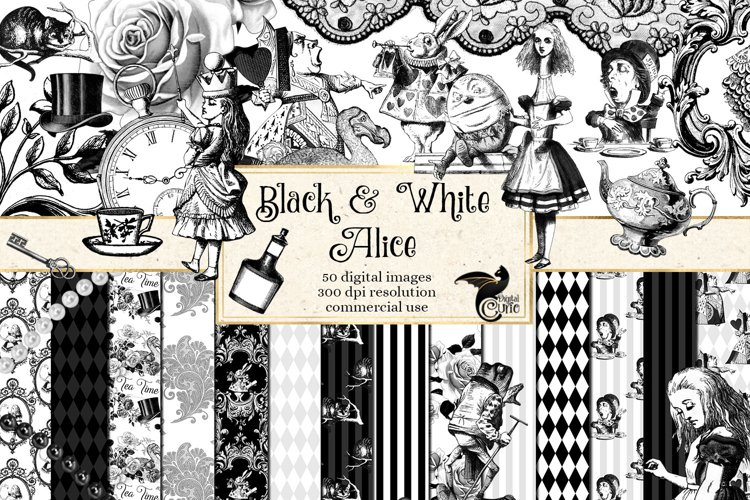 Black and White Alice in Wonderland Graphics