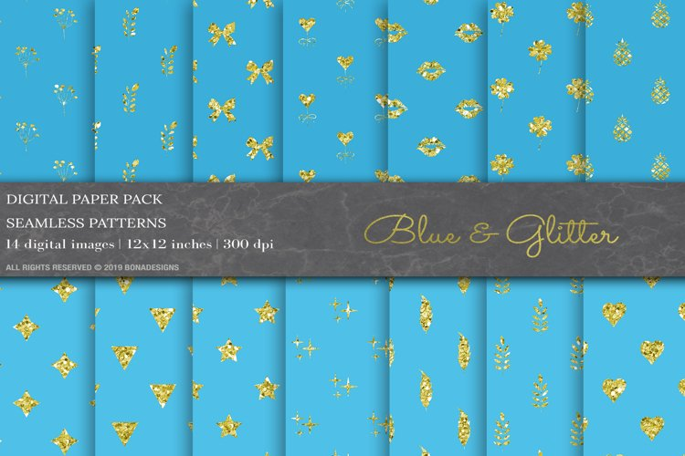 Blue Glitter Geometric Digital Papers example image 1