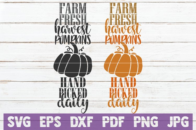 Farm Fresh Harvest Pumpkins Hand Picked Daily SVG Cut File example image 1