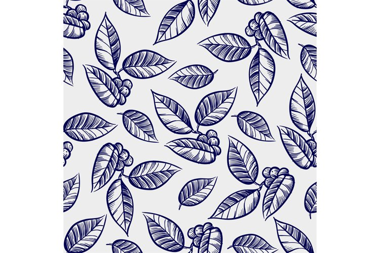 Hand drawn leaves with berries seamless pattern example image 1