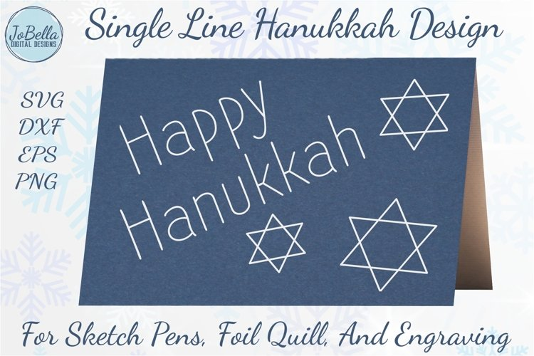 Single Line Happy Hanukkah SVG for Foil Quill, Sketching etc