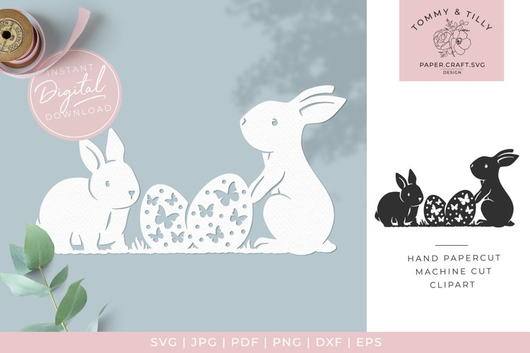 Easter Rabbit Scene 1- Butterfly SVG Papercut Cutting File example image 1