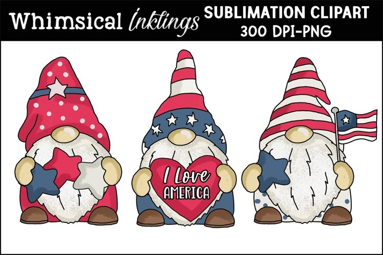 Patriotic Gnomes Sublimation Clipart - Free Design of The Week Font