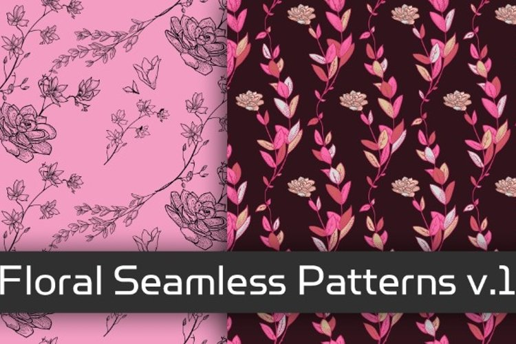 Floral Seamless Patterns v.1 example image 1