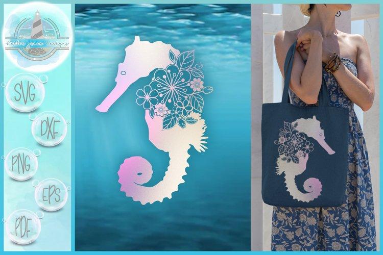 Seahorse SVG | Seahorse Floral Mandala Zentangle SVG example image 1