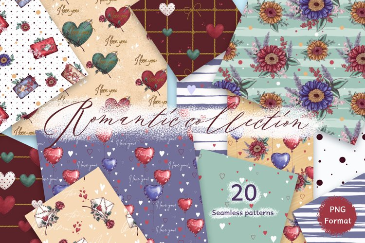 Romantic collection. Patterns. Backgrounds.
