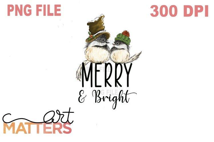 Merry   Bright Chicadees - 300 DPI