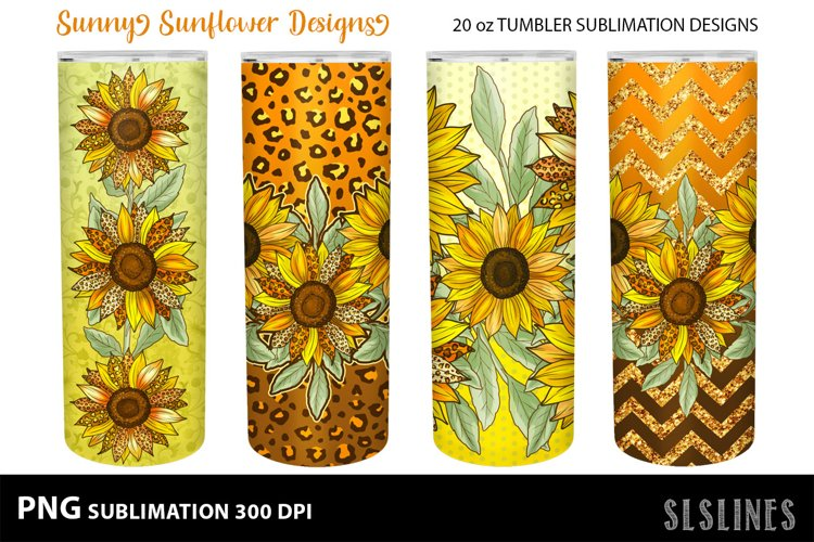 Skinny Tumbler Sublimation - Sunflowers with Leopard Print