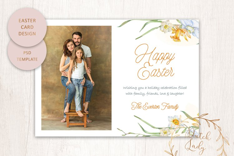 PSD Easter Photo Card Template - Single Sided - #3 example image 1