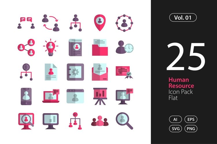 Human Resource Icon Flat SVG, EPS, PNG