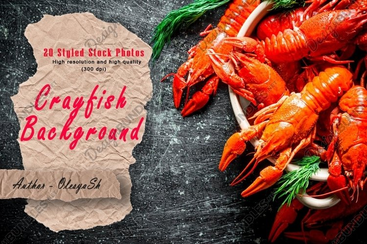 20 Photos Delicious cooked crayfish. Backgrounds. example image 1