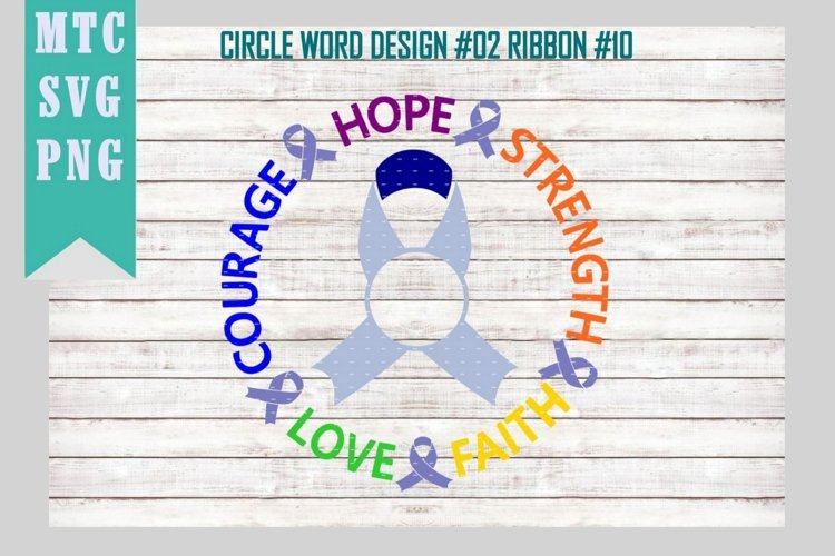 Awareness Word Circle Ribbon #10 Design #01 SVG Cut File