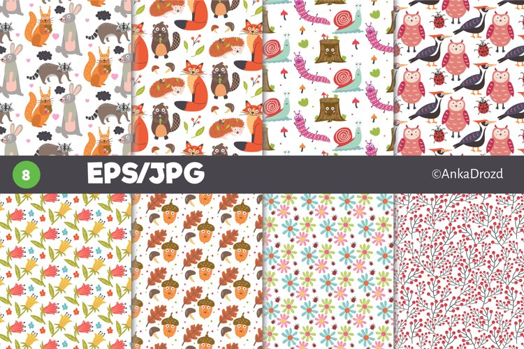 Cute Woodland Animal Forest digital paper. Nursery Décor example image 1