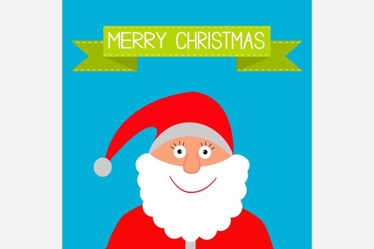 Santa Claus and green ribbon. Merry Christmas. Xmas card. example image 1