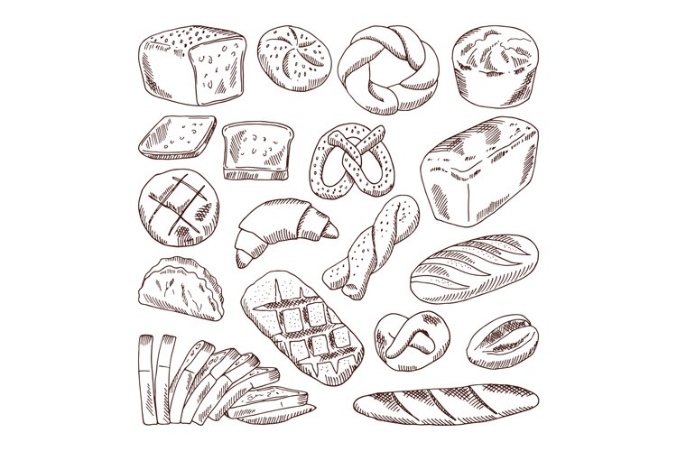 Different types of fresh bread. Vector hand drawn illustrati example image 1