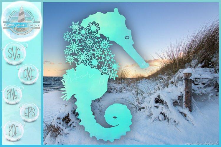 Seahorse SVG   Seahorse Snowflake Mandala Zentangle SVG example image 1