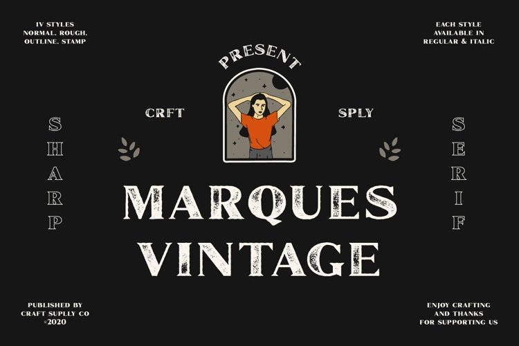Marques Vintage Font Family Bonus Extras example image 1