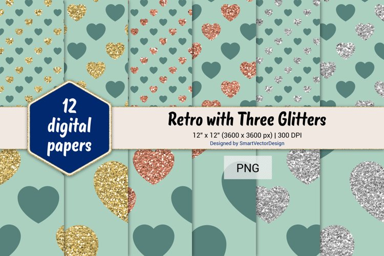 Hearts Retro with Three Glitters Color Combo #48 example image 1