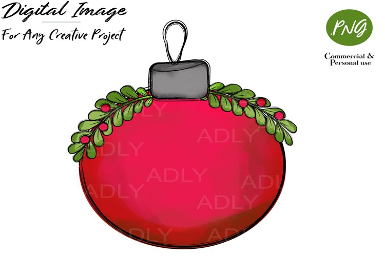 Red Christmas Ornament Ball sublimation CLIP ART