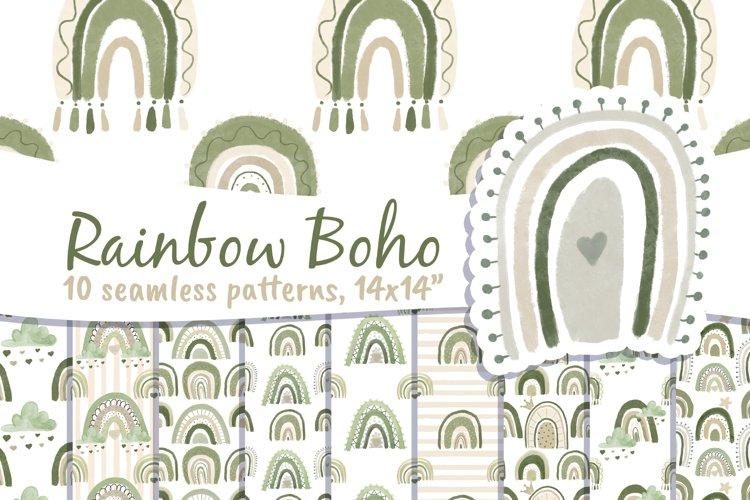 Boho Rainbow Digital Paper Neutral example image 1