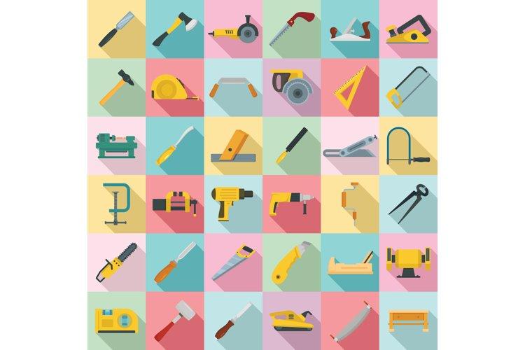 Carpenter icon set, flat style example image 1