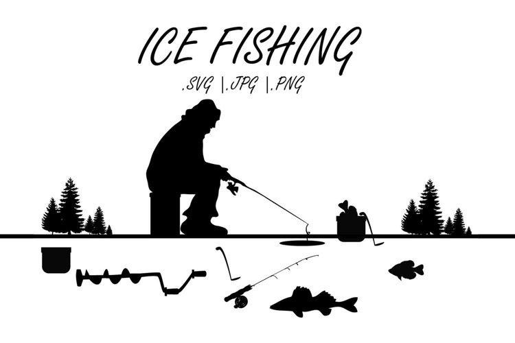 MN Ice fishing SVG, Ice fishing grahics example image 1