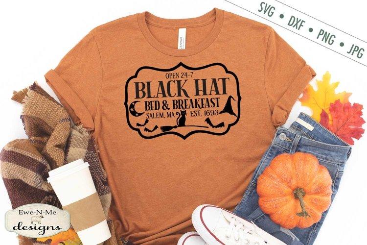 Black Hat Bed Breakfast | Halloween | Black Cat SVG DXF File example image 1