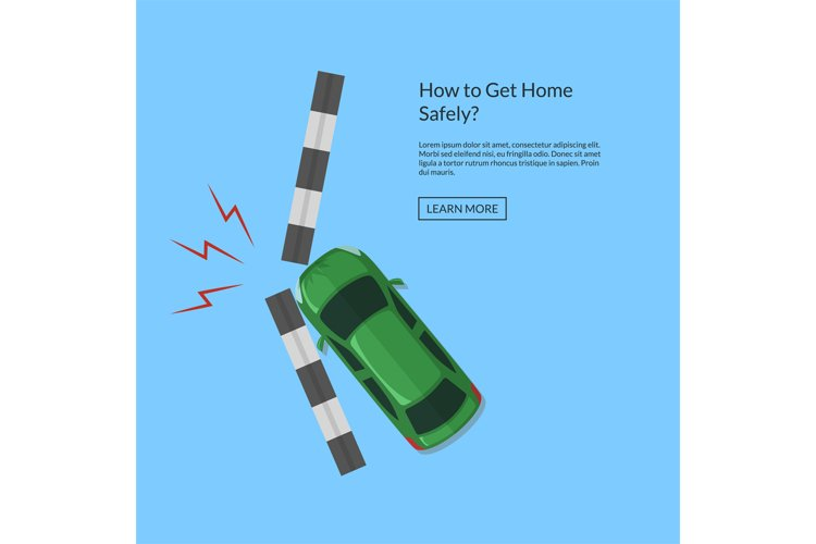 Vector car accident with footpath top view illustration example image 1