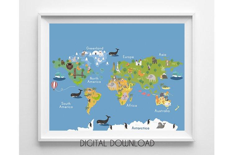 World Map Wall Art for Kids, Nursery Map Prints