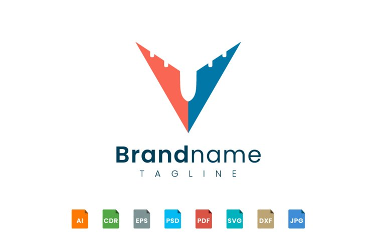 Initial V logo design resembles a plane example image 1
