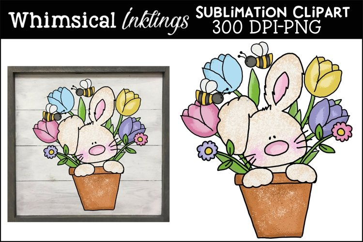 Tulip Pot Bunny Sublimation Clipart example image 1