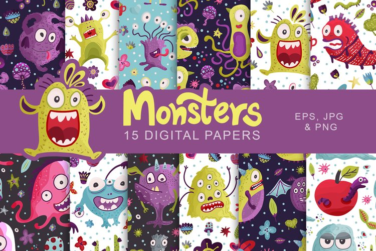 Cute Monster Seamless Pattern Set.