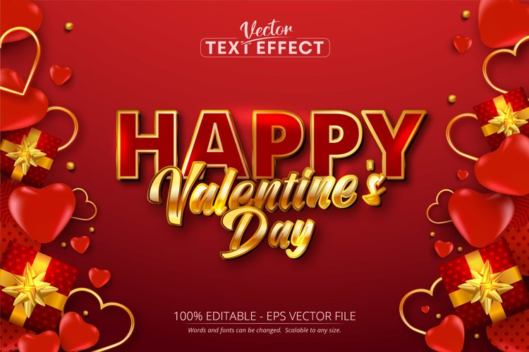 Happy valentines day text, shiny gold color text effect
