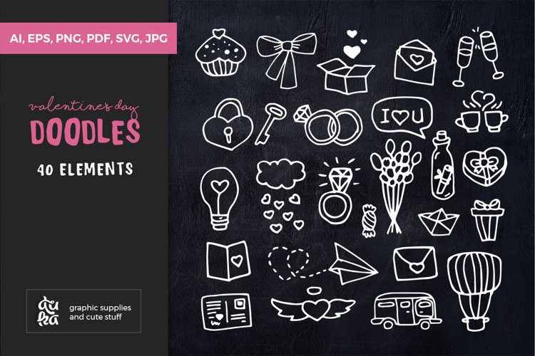 Valentine SVG Cut Files - Valentines day Cute Doodles