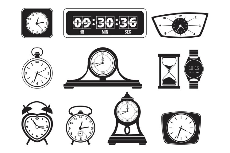 Monochrome illustrations of different clocks. Alarm and bell example image 1
