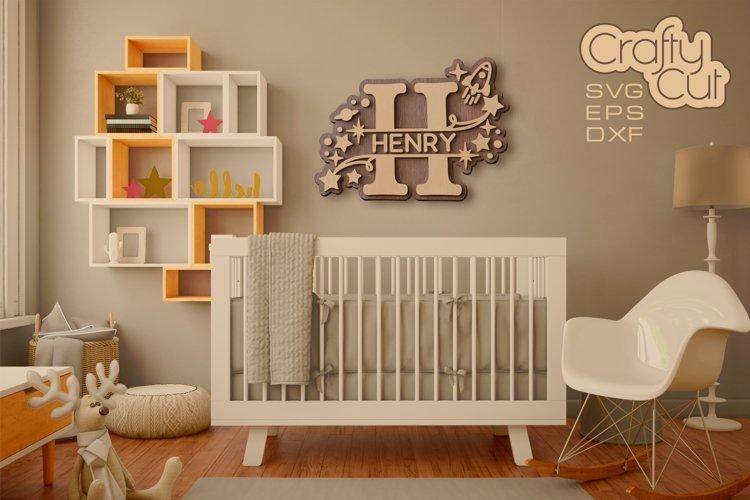 Baby Name Split Monograms - SVG files for Laser cut, Cricut example image 1