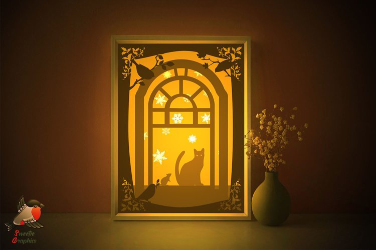 Window Cat Mouse Silhouette Lightbox Shadow Box SVG Template example image 1