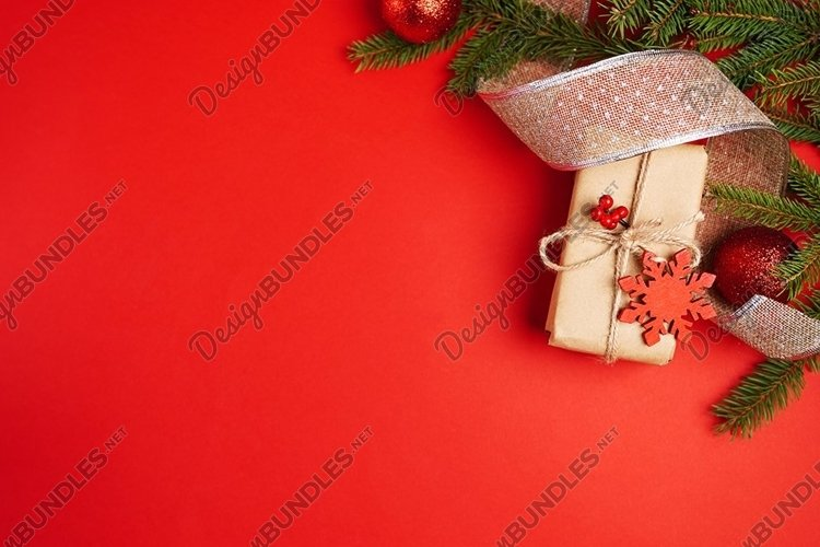 Art red Christmas holidays background, greeting card example image 1