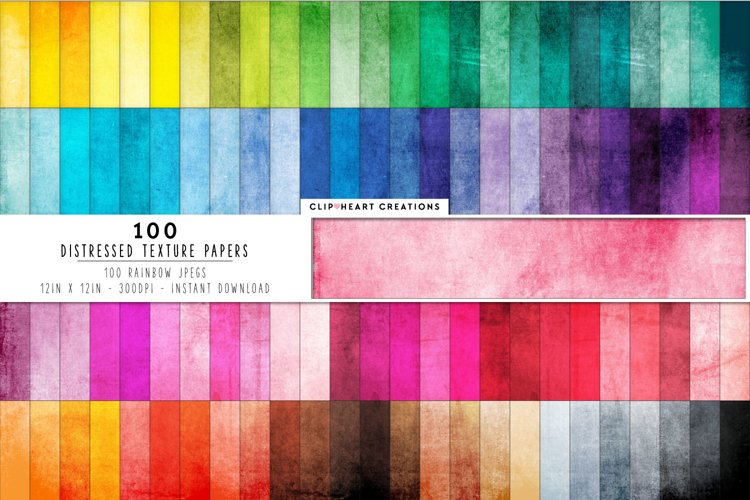 100 Distressed Grunge Digital Papers in Rainbow Colors example image 1