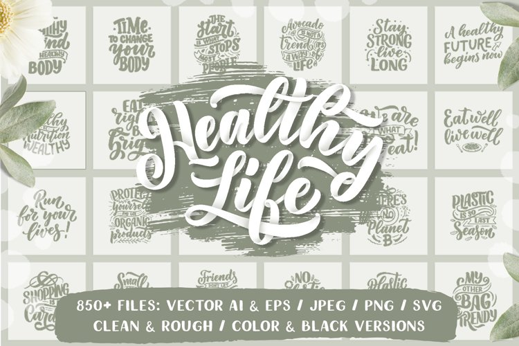 Healthy Life Lettering Set example image 1