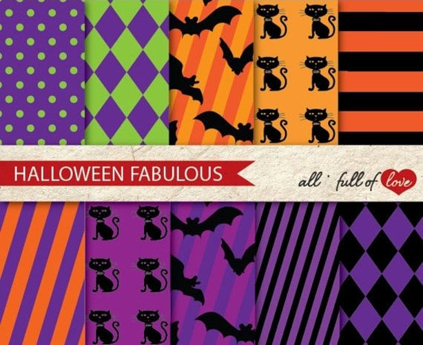 Halloween Digital Paper Pack Bats and Cats Background Patterns example image 1