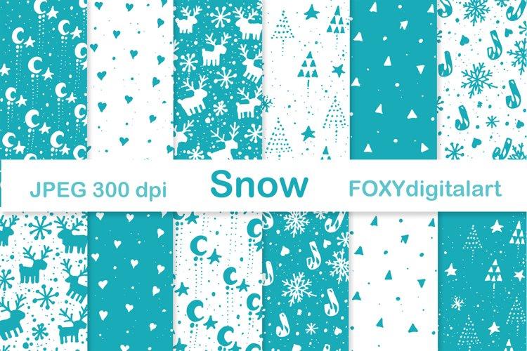 Digital paper Christmas tree reindeer snow flakes holiday example image 1