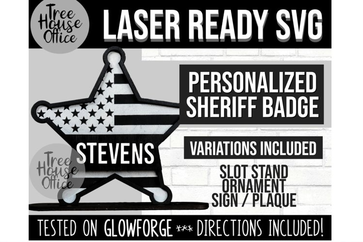 Sheriff Badge Glowforge Svg, Law Enforcement Symbol Lasercut