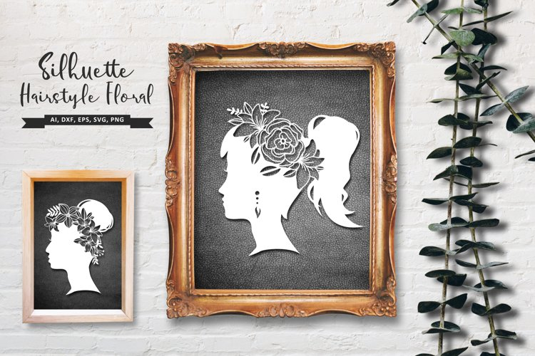 Girl with Floral Hair Silhouette, Floral Hair SVG example image 1