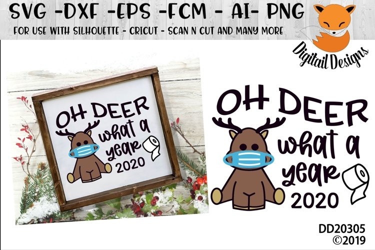 Oh Deer What A Year 2020 Reindeer SVG example image 1