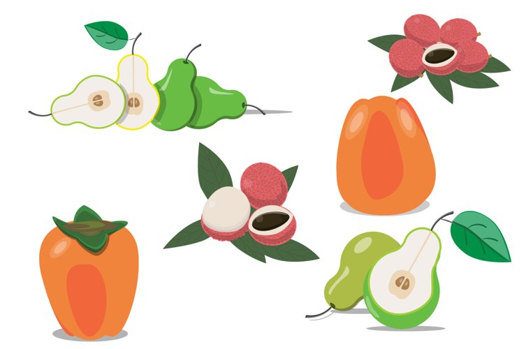 Fruits SVG, EPS. Pears, lychee, persimmon example image 1