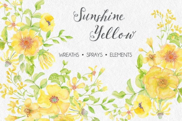 Sunshine Yellow - watercolor wreaths, sprays and elements