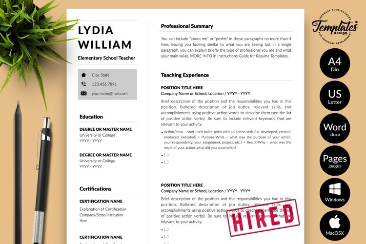 Teacher Resume CV Template for Word & Pages Lydia William example image 1