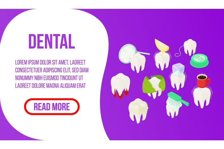 Dental concept banner, isometric style example image 1